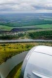 Vista aerea sul villaggio di Lugovoe fotografia stock