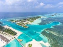 Vista aerea sull'isola di Olhuveli, Maldive immagine stock libera da diritti