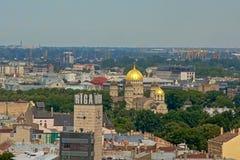 Vista aerea sulla città di Riga, capitale della Lettonia Immagini Stock