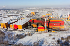 Vista aerea sulla fabbrica e di ferro degli impianti d'acciaio La Russia Immagine Stock