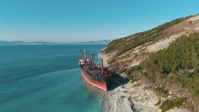 Vista aerea sulla grande nave da carico rossa in acqua di mare blu vicino alla linea costiera coperta dagli alberi colpo Paesaggi video d archivio