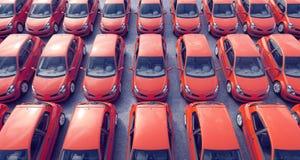 Vista aerea sulle automobili parcheggiate da vendere sopra molto Fotografia Stock
