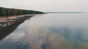 Vista aerea superiore Costa del Mar Baltico un giorno nuvoloso di autunno video d archivio