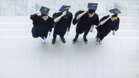 Vista aerea superiore degli studenti della gente nella sensibilità di felice e Fotografie Stock Libere da Diritti