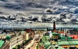 Vista aerea surrealista di panorama a Helsinborg, Svezia fotografia stock libera da diritti