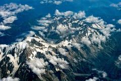Vista aerea svizzera delle alpi dall'aeroplano Fotografia Stock