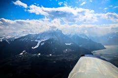 Vista aerea unica dell'aeroplano delle alpi svizzere centrali Fotografia Stock