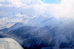 Vista aerea unica dell'aeroplano delle alpi svizzere centrali Immagini Stock Libere da Diritti