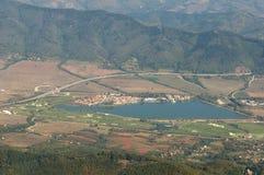 Vista aerea - vista aerea della strada principale Hemus in Bulgaria Immagine Stock Libera da Diritti