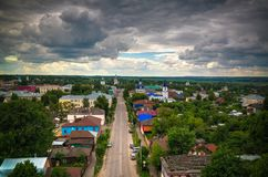 Vista aerea a Zarajsk dalla vecchia torre di acqua, regione di Mosca, Russia di panorama fotografia stock libera da diritti