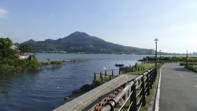 Vista agradável do trajeto central da bicicleta do rio de Taipei, Taiwan Foto de Stock