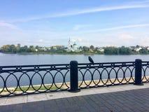Vista agradable del río a través de una cerca decorativa fotos de archivo libres de regalías