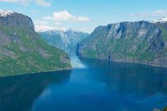 Vista al Aurlandsfjord dal punto di vista di Stegastein, Norvegia Immagine Stock Libera da Diritti
