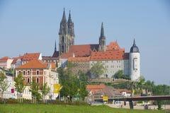 Vista al castello di Albrechtsburg ed alla cattedrale di Meissen in Meissen, Germania Fotografia Stock Libera da Diritti