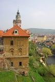 Vista al castillo histórico de Cesky Krumlov y ciudad en República Checa Fotografía de archivo