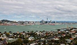 Vista al centro de ciudad de Auckland del mt Victoria, isla del norte, nueva Imágenes de archivo libres de regalías