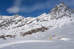 Vista al Cervino, d& x27 dell'Italia, Valle; Aosta, Breuil-Cervinia, la valle d'Aosta, Cervinia Fotografie Stock Libere da Diritti