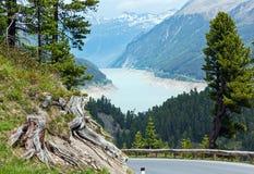 Vista al lago Gepatsch-Stausee (Austria) Fotografie Stock Libere da Diritti
