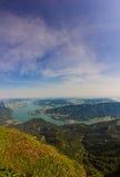 Vista al lago Mondsee de Schafbergspitze 1 783 de la mañana foto de archivo libre de regalías