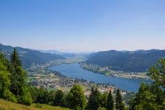 Vista al lago Ossiach de Gerlitzen Foto de archivo