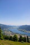 Vista al lago Ossiach del Mt Gerlitzen Imagenes de archivo