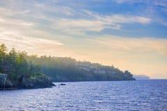 Vista al mar del parque del punto del cuello en Nanaimo en la puesta del sol, Vancouver Fotos de archivo libres de regalías