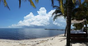 Playa del carmen mexico panorama. Vista al mar playa del carmen mexico arena cama y sol Royalty Free Stock Images