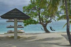 vista al mar tropical con los surfdesks y los palmtrees Fotografía de archivo libre de regalías
