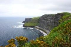 Vista al nord delle scogliere di Moher sulla costa dell'Irlanda Immagine Stock