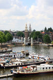 Vista al Oosterdok a Amsterdam, Paesi Bassi fotografia stock