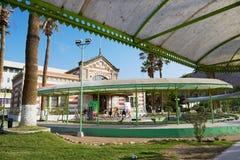 Vista al parco della città ed alle vecchie abitudini che costruiscono in Arica, Cile Immagine Stock
