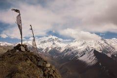 Vista al passaggio della La di Thorong, montagne dell'Himalaya, Nepal Immagine Stock Libera da Diritti