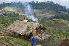 Vista al pueblo de la tribu de la colina de Kok Dong y estación agrícola de Doi Ang Khang Royal en la provincia de Chiang Mai, Ta Imagen de archivo
