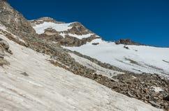 Vista al soporte de Vincent Pyramid y al glaciar de Bors en el macizo de Monte Rosa cerca de Punta Indren Área de Alagna Valsesia fotografía de archivo