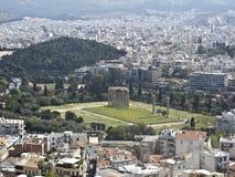 Vista al templo del Zeus Imagenes de archivo