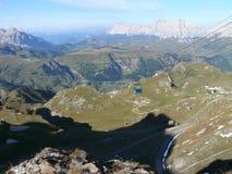 Vista al valle de Piz Boè Imagen de archivo libre de regalías