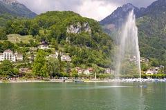 Vista al villaggio Weesen, Svizzera Fotografie Stock Libere da Diritti