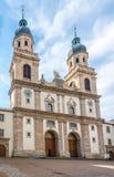Vista alla chiesa della gesuita Innsbruck - in Austria Immagini Stock Libere da Diritti