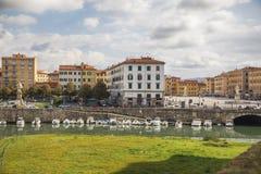 Vista alla città di Livorno dalla vecchia fortezza Fotografia Stock Libera da Diritti