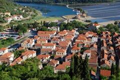 Vista alla città di Ston, Croatia Immagine Stock Libera da Diritti
