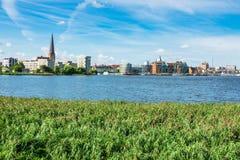 Vista alla città hanseatic Rostock, Germania Fotografie Stock