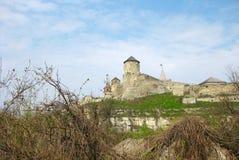 Vista alla fortezza di Kamenets Podolsky, Ucraina fotografia stock libera da diritti