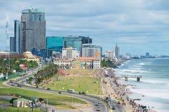 Vista alla spiaggia a Colombo del centro, Sri Lanka Fotografia Stock Libera da Diritti