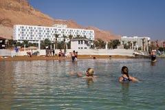 Vista alla spiaggia del mar Morto Fotografia Stock