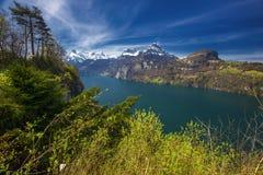 Vista alle alpi ed al lago svizzeri lucerne dal villaggio di Sisikon, Svizzera Fotografie Stock Libere da Diritti