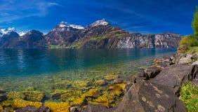 Vista alle alpi ed al lago svizzeri lucerne dal villaggio di Sisikon, Switze Immagini Stock Libere da Diritti