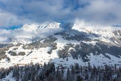 Vista alle alpi svizzere a Adelboden, Svizzera Immagine Stock Libera da Diritti