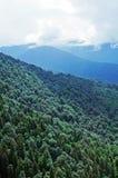 Vista alle alte montagne caucasiche vicino alla stazione sciistica Rosa Khutor Fotografie Stock Libere da Diritti