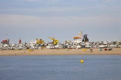 Vista alle case di spiaggia tipiche in Velsen, Paesi Bassi Fotografie Stock Libere da Diritti