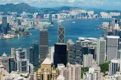 Vista alle costruzioni moderne della città di Hong Kong in Hong Kong, Cina fotografia stock libera da diritti